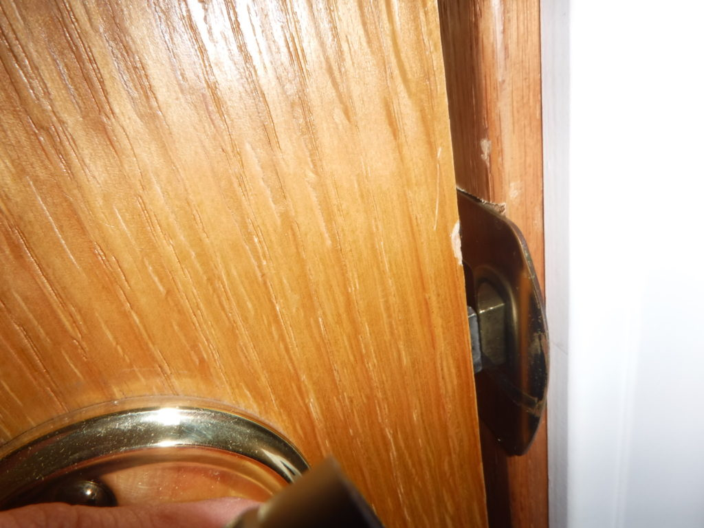 Misaligned Latch and strike plate, door not closing properly